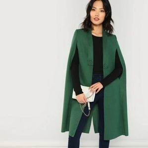 Shein Cape shall collar coat kelly green xs